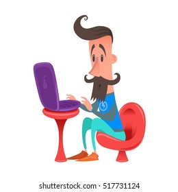 Hipster computer. fatal error. Hipster in red chair. Laptop on a table. Mustache beard fashionable style.