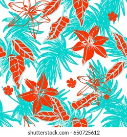 Hipster Contemporary Seamless Background Pattern with Hand Drawn Exotic Palm Lives and Flowers for Fashion Design , Packaging ,Fabric Design ,Invitations. Summer Hawaiian Trendy Illustration.