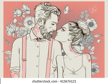 hipster couple with floral elements