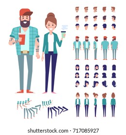 Hipster couple. Front, side, back, 3/4 view animated characters. Constructor with various views, hairstyles. Cartoon style, flat vector illustration.