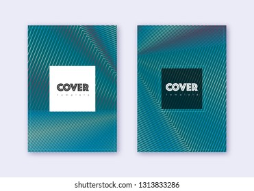 Hipster cover design template set. Red white blue abstract lines on dark background. Curious cover design. Excellent catalog, poster, book template etc.