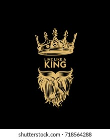 Hipster crown icon with beard and mustache, king, rule, supreme power, dictator, black background, yellow, vector illustration