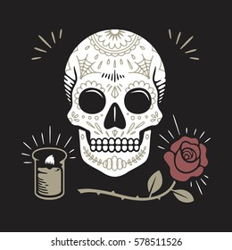 Hipster Day of the Dead Skull with rose and candle