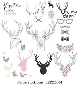 hipster deer elements set for designers