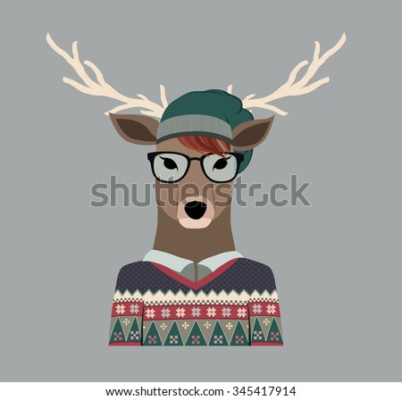 b72bacf4f1d Hipster Deer Sweater Hat Stock Vector (Royalty Free) 345417914 ...