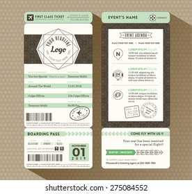 Hipster design Boarding Pass Ticket Event Invitation card vector Template