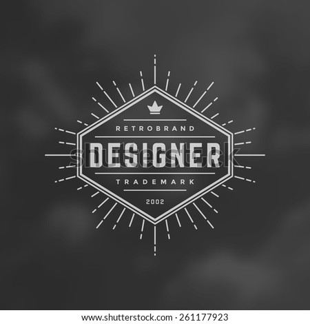 6ed60096 Hipster Design Element in Vintage Style for Logotype, Label, Badge, T-shirts  and other design. Retro vector illustration. - Vector