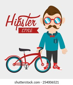 Hipster design over white background, vector illustration.