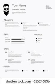 Hipster Designer CV Resume. Vector illustration