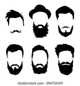 Hipster detailed hair and beards set. Fashion bearded man silhouette. Black beard isolated on white background. Vector illustration