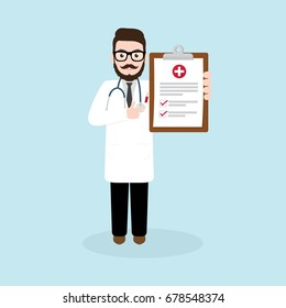 Hipster Doctor holding medical clipboard