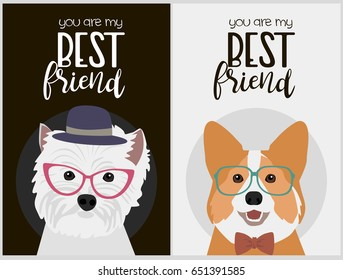Hipster dog card for birthday card, posters and labels. Vector illustration