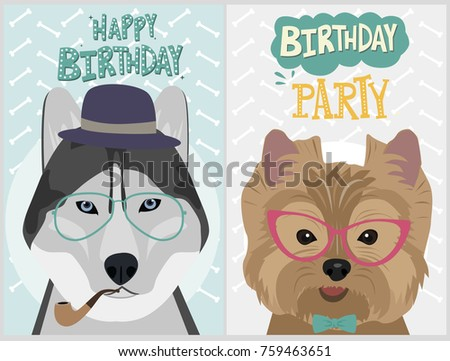 Hipster Dog Card Birthday Card Posters Stock Vector Royalty Free