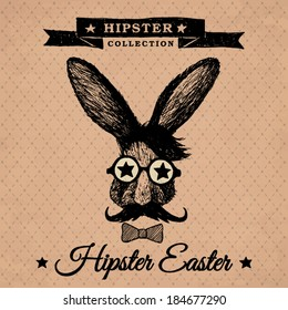 Hipster Easter - Easter poster with hipster bunny on the vintage background with repeating geometric tiles of rhombuses -EPS10
