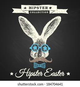 Hipster Easter - easter poster with hipster bunny on chalkboard background, eps10.
