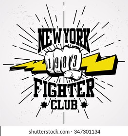 Hipster emblem about fighting club. Monochrome graphic style