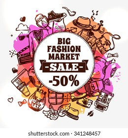 Hipster fashion clothing discount big market sale advertisement banner with circle shape composition doodle abstract vector illustration