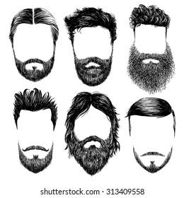 Hipster fashion man hair and beards, Hand drawn vector illustration set
