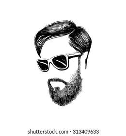 Hipster fashion man hair and beards, Hand drawn vector illustration