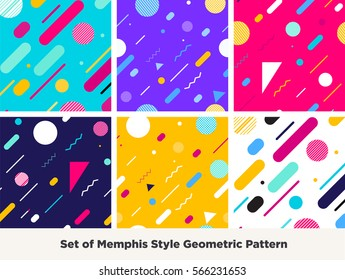 Hipster Fashion Memphis Style Geometric Pattern.Set of  Abstract Seamless Pattern with Lines, Circles and Squares. Vector Illustration. Good neon trendy colors.