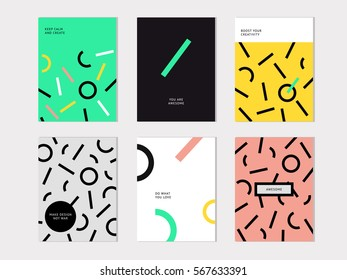 Hipster Fashion Memphis Style Geometric set. Set of Posters with Lines and Circles. Vector Illustration. Abstract flat background design.
