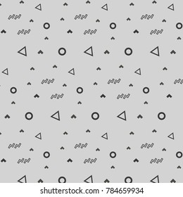 Hipster fashion pattern memphis ornament white circle grey triangle and grey and gray corner on grey background