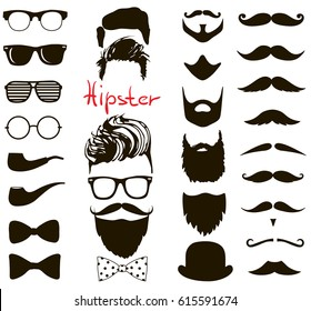 Hipster fashion set. haircuts, beards, glasses, bowtie and pipe