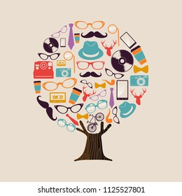Hipster fashion tree made of retro style icons. Vintage culture concept includes deer, glasses, photgraphy camera and mustache. EPS10 vector.