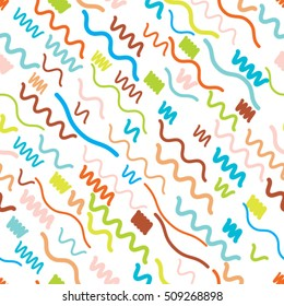 Hipster fashion . trendy card .minimal background with smooth zigzag lines. Seamless pattern 80's - 90's years memphis design
