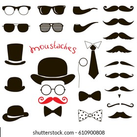 Hipster fashion vintage set. retro gentleman elements. mustaches, hats and eyeglasses.