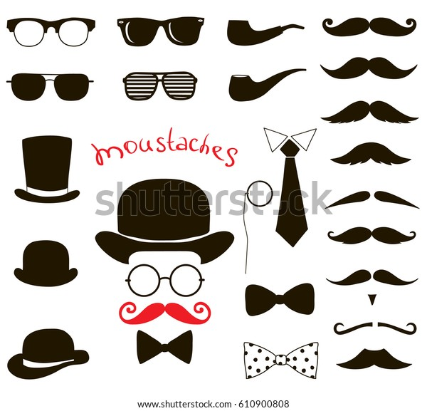 b42d0870f87c1c Hipster fashion vintage set. retro gentleman elements. mustaches, hats and  eyeglasses.