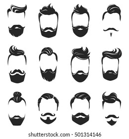 Hipster fashionable beard moustache and hair styles monochrome set isolated on white background flat vector illustration