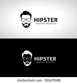 Hipster Geek, Barber shop logo template