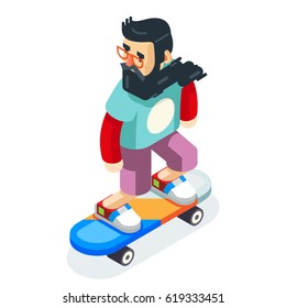 Hipster Geek Skater Ride Skateboard Character Cartoon Icon Isometric Design Vector Illustration