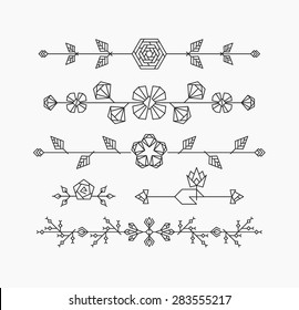 Hipster geometrical flowers, floral decorative design elements, set of isolated ornamental headers, dividers
