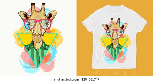Hipster giraffe, fashion animal . Print for t-shirts and another, trendy apparel design