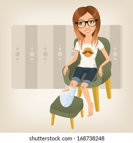 hipster girl with broken leg sitting on an armchair