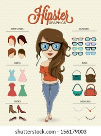 Hipster girl character with hipster elements and icons