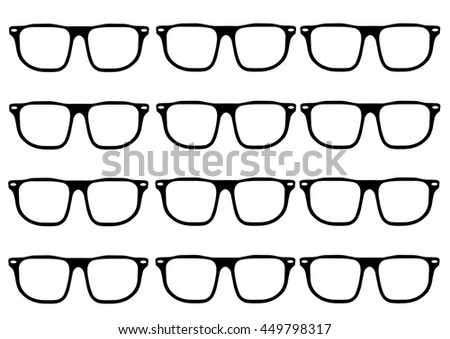 Hipster glasses frames in a grid
