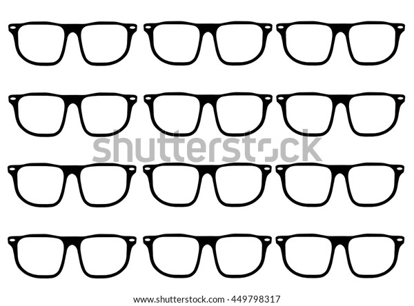 Hipster glasses frames in a grid