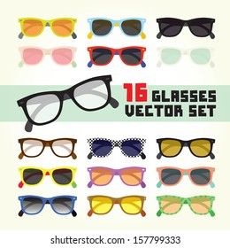 Hipster glasses isolated vector set