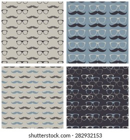 hipster glasses mustache beige blue gray geometrical seamless pattern set