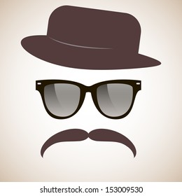 Hipster. Glasses, mustache, hat. Vector