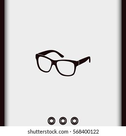 Hipster glasses vector icon. Glasses silhouette.