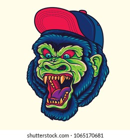 Hipster Gorilla / King Kong Head Old School Tattoo Illustration