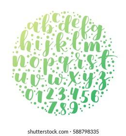 hipster gradient hand lettering alphabet design, handwritten brush script modern calligraphy boho font vector illustration in round shape