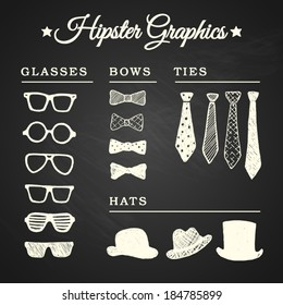 Hipster graphic set with glasses, ties, bows and hats on chalkboard background, eps10