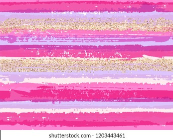 Hipster grunge texture brush stroke stripes with gold glitter sparkles vector seamless pattern background. Golden sparkles glittering shiny confetti over ink lines pattern. Fabric print.