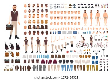 Hipster guy construction set. Bearded man dressed in office formal clothes and holding bag. Set of flat cartoon character details, poses, gestures isolated on white background. Vector illustration.