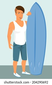Hipster guy wearing stylish haircut with blue surfboard